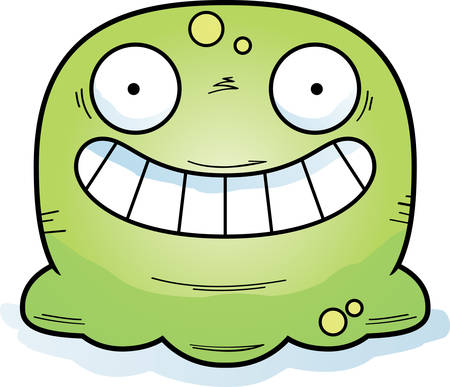 A cartoon illustration of a booger looking happy. Standard-Bild - 101915882