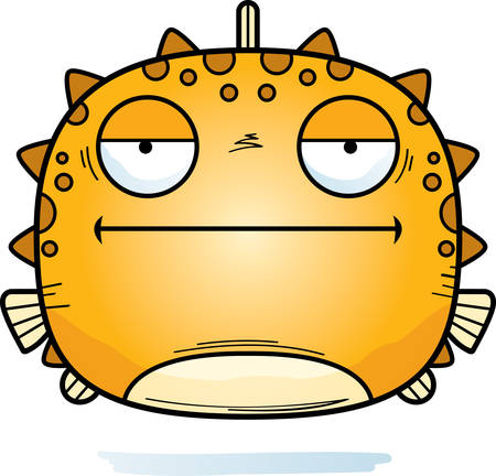 A cartoon illustration of a blowfish looking bored.
