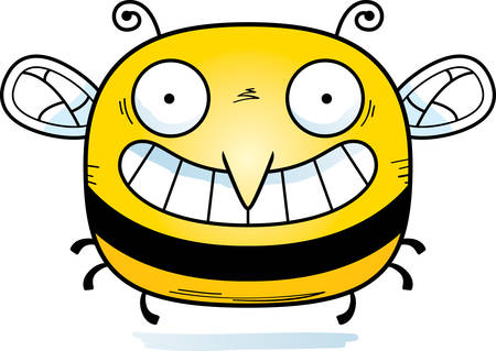 A cartoon illustration of a bee looking happy.