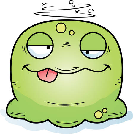 A cartoon illustration of a booger looking drunk.