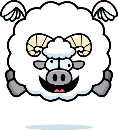 A cartoon illustration of a ram looking crazy.