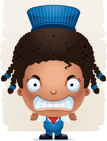 A cartoon illustration of a girl train conductor with an angry expression. Standard-Bild - 102083310
