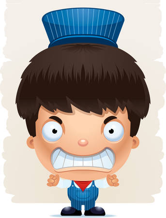 A cartoon illustration of a boy train conductor with an angry expression. Standard-Bild - 101915941