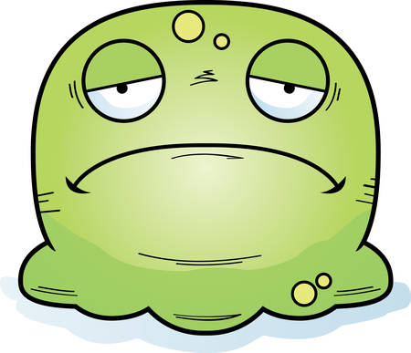 A cartoon illustration of a booger looking sad.