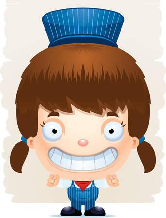 A cartoon illustration of a girl train conductor smiling. Illustration