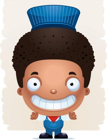 A cartoon illustration of a boy train conductor smiling. Standard-Bild - 101916030
