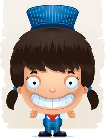 A cartoon illustration of a girl train conductor smiling. Standard-Bild - 101916034