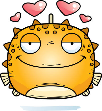 A cartoon illustration of a blowfish in love.