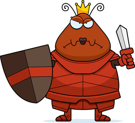 A cartoon illustration of an ant queen in armor looking angry.