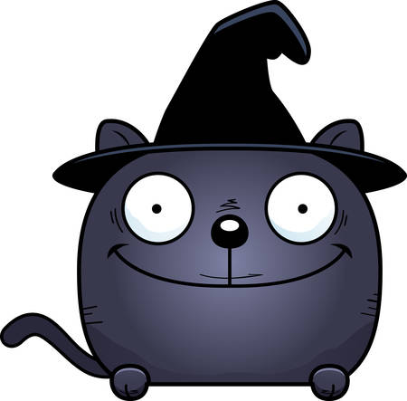 A cartoon illustration of a cat in a witch hat peeking over an object. Çizim
