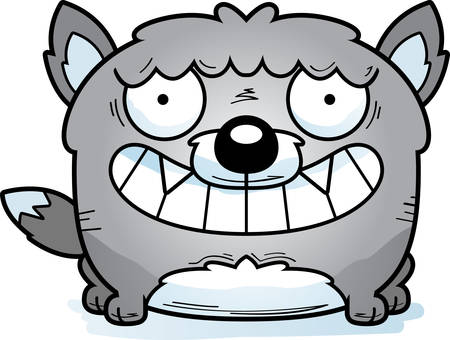 A cartoon illustration of a wolf looking happy.