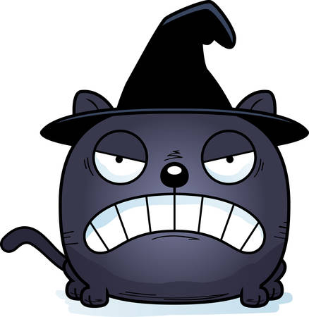 A cartoon illustration of a cat in a witch hat with an angry expression.