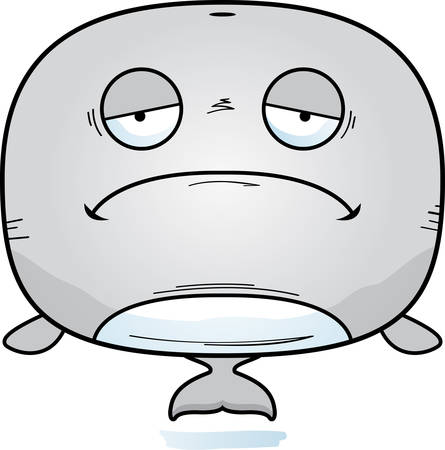 A cartoon illustration of a whale looking sad.