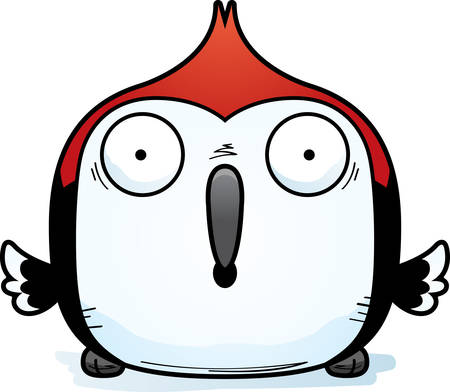 A cartoon illustration of a red-headed woodpecker looking surprised.