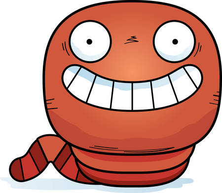 A cartoon illustration of a worm looking happy.
