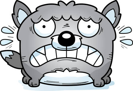 A cartoon illustration of a wolf looking terrified.