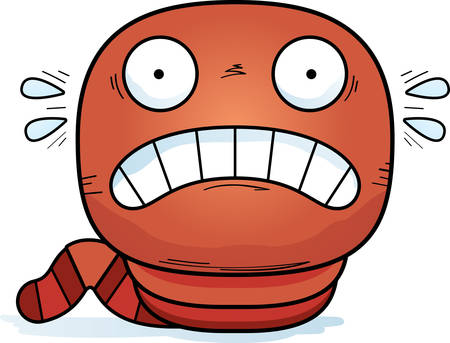 A cartoon illustration of a worm looking scared. Stock Illustratie