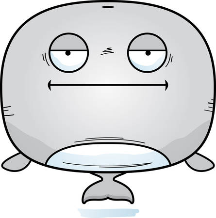 A cartoon illustration of a whale looking bored.