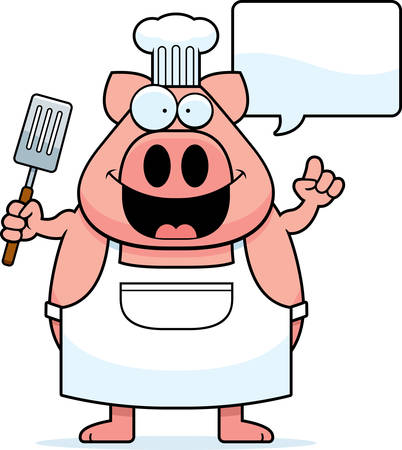 A cartoon illustration of a pig chef with an idea.