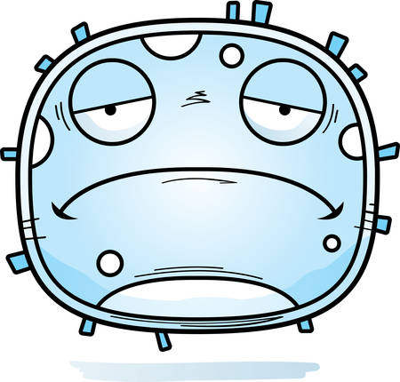 A cartoon illustration of a white blood cell looking sad. Foto de archivo - 101916367