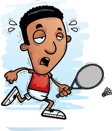 A cartoon illustration of a black man badminton player running and looking exhausted.