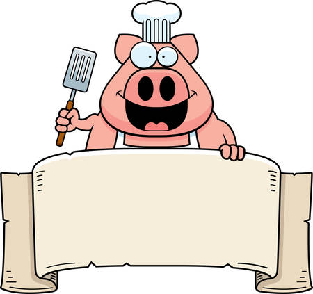 A cartoon illustration of a pig chef holding a banner. Illustration