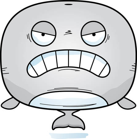 A cartoon illustration of a whale looking angry.