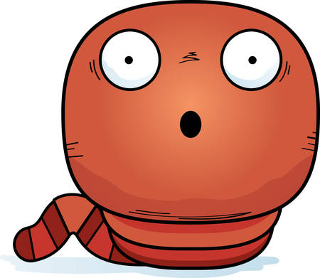 A cartoon illustration of a worm looking surprised.