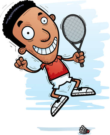 A cartoon illustration of a black man badminton player jumping.