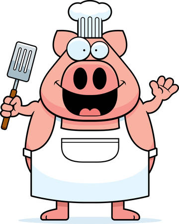 A cartoon illustration of a pig chef waving.