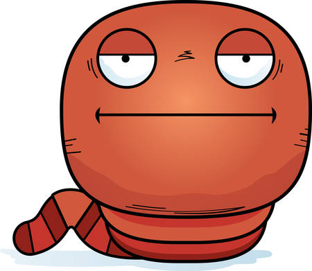 A cartoon illustration of a worm looking bored.