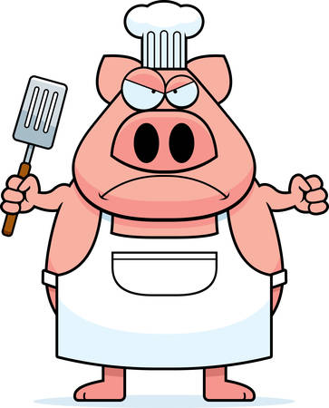 A cartoon illustration of a pig chef looking angry.