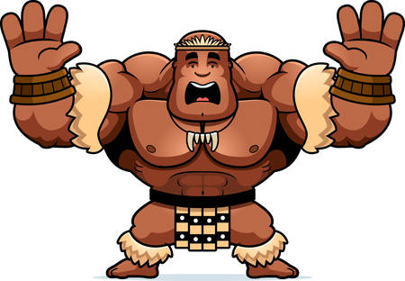 A cartoon illustration of a Zulu warrior looking scared.