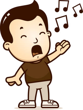 A cartoon illustration of a boy singing. Ilustrace