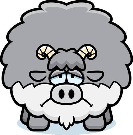 A cartoon illustration of a goat looking sad. Ilustracja