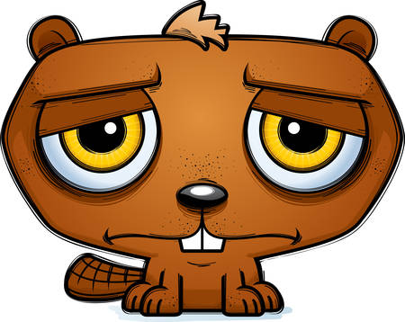 A cartoon illustration of a beaver looking depressed.