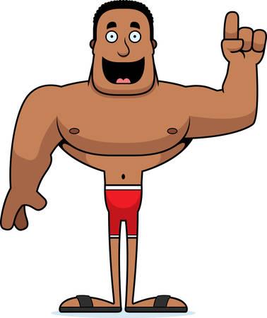 A cartoon man with an idea in a swimsuit.