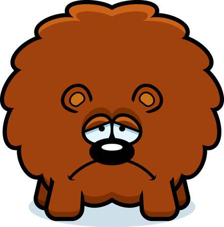 A cartoon illustration of a bear looking sad.