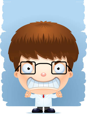 A cartoon illustration of a boy scientist with an angry expression.