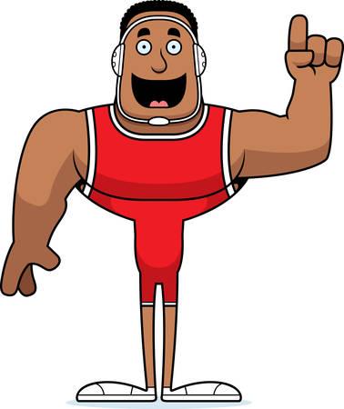 A cartoon wrestler with an idea.