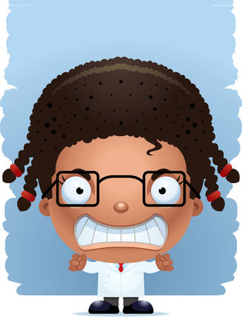 A cartoon illustration of a girl scientist with an angry expression.