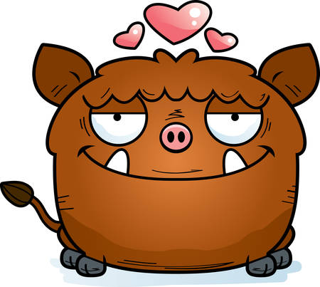 A cartoon illustration of a boar in love.