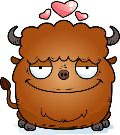 A cartoon illustration of a bison in love.