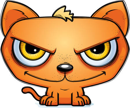 A cartoon illustration of a sinister looking cat.
