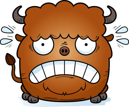 A cartoon illustration of a bison looking scared. Ilustrace