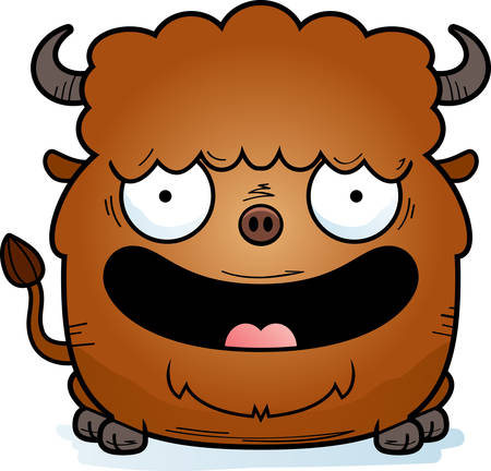 A cartoon illustration of a bison smiling.