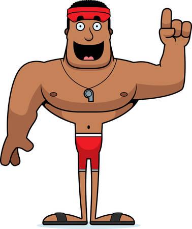 A cartoon lifeguard with an idea.