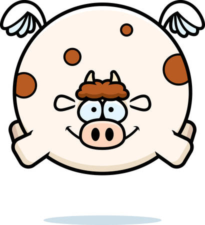 A cartoon illustration of a cow flying.