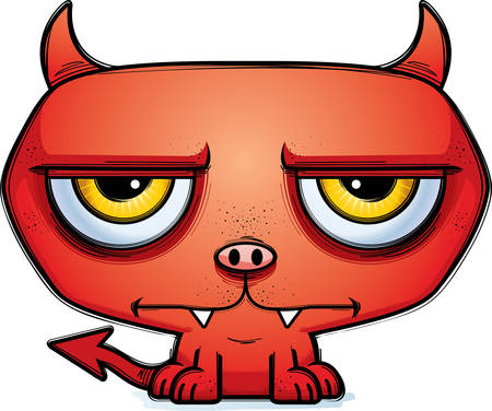A cartoon illustration of a little devil looking calm. Illustration