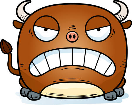 A cartoon illustration of a little bull looking mad.